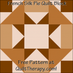 "French Silk Pie Quilt Block Free Pattern for a 12"" quilt block at QuiltTherapy.com!"