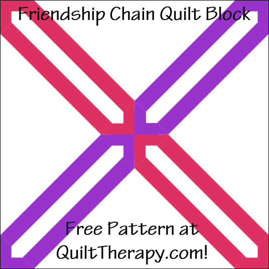 "Friendship Chain Quilt Block Free Pattern for a 12"" quilt block at QuiltTherapy.com!"