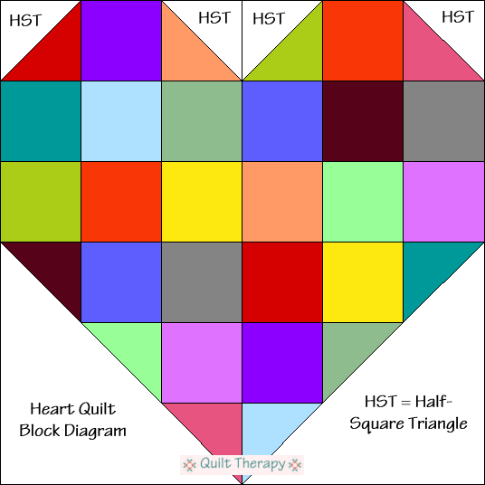 "Heart Block Diagram Free Pattern for 12"" finished quilt block at QuiltTherapy.com!"