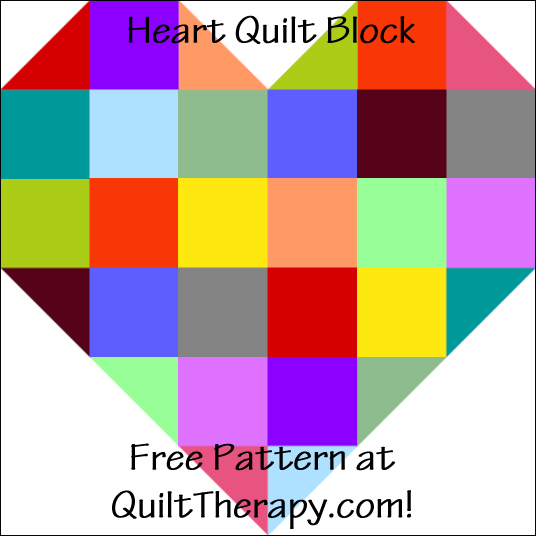 "Heart Quilt Block Free Pattern for a 12"" quilt block at QuiltTherapy.com!"