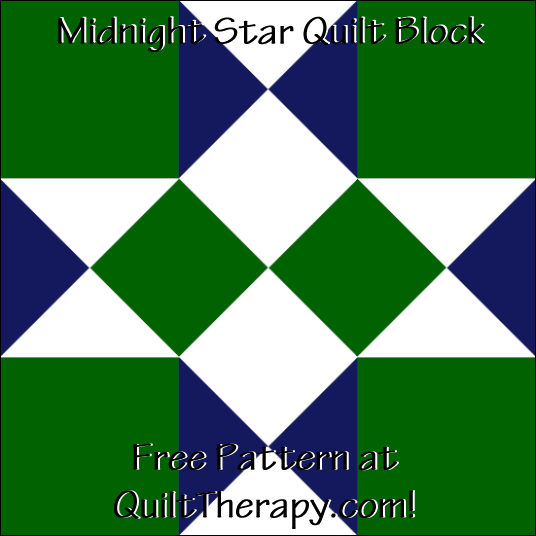 "Midnight Star Quilt Block Free Pattern for a 12"" quilt block at QuiltTherapy.com!"