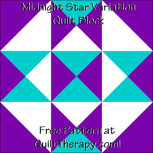 "Midnight Star Variation Quilt Block Free Pattern for a 12"" quilt block at QuiltTherapy.com!"