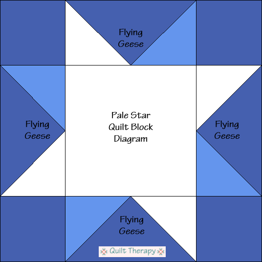 "Pale Star Block Diagram Free Pattern for 12"" finished quilt block at QuiltTherapy.com!"
