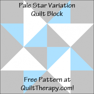 """Pale Star Variation Quilt Block Free Pattern for a 12"""" quilt block at QuiltTherapy.com!"""