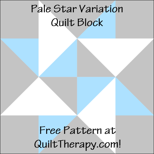 "Pale Star Variation Quilt Block Free Pattern for a 12"" quilt block at QuiltTherapy.com!"