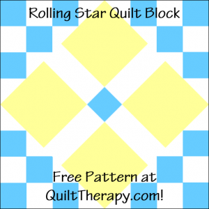 """Rolling Star Quilt Block Free Pattern for a 12"""" quilt block at QuiltTherapy.com!"""