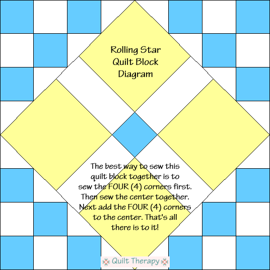 "Rolling Star Block Diagram Free Pattern for 12"" finished quilt block at QuiltTherapy.com!"