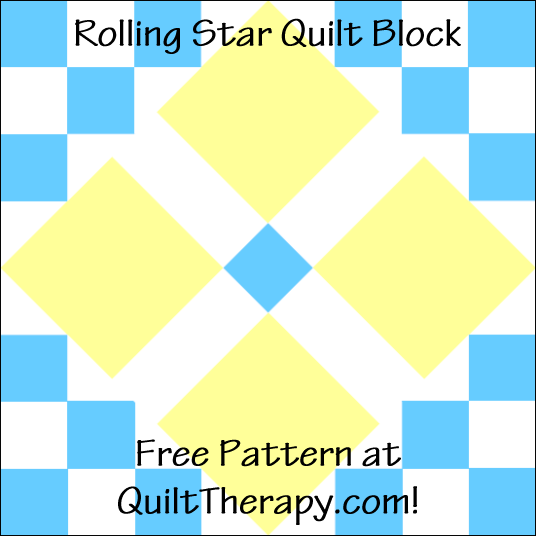 "Rolling Star Quilt Block Free Pattern for a 12"" quilt block at QuiltTherapy.com!"