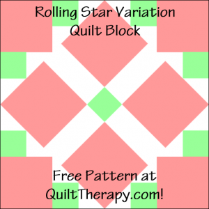 """Rolling Star Variation Quilt Block Free Pattern for a 12"""" quilt block at QuiltTherapy.com!"""