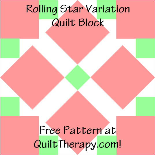 "Rolling Star Variation Quilt Block Free Pattern for a 12"" quilt block at QuiltTherapy.com!"
