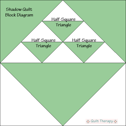 "Shadow Block Diagram Free Pattern for 12"" finished quilt block at QuiltTherapy.com!"