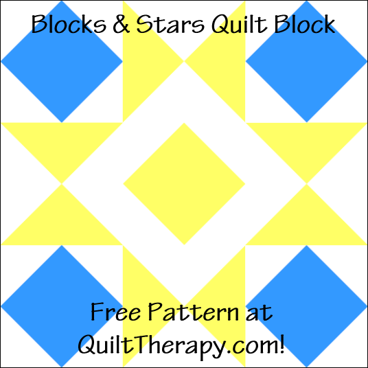 "Blocks & Stars Quilt Block Free Pattern for a 12"" quilt block at QuiltTherapy.com!"