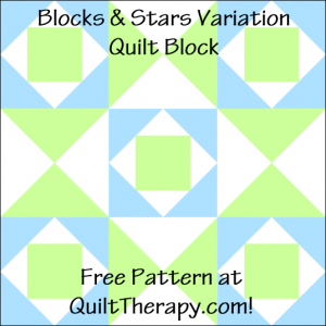 """Blocks & Stars Variation Quilt Block Free Pattern for a 12"""" quilt block at QuiltTherapy.com!"""