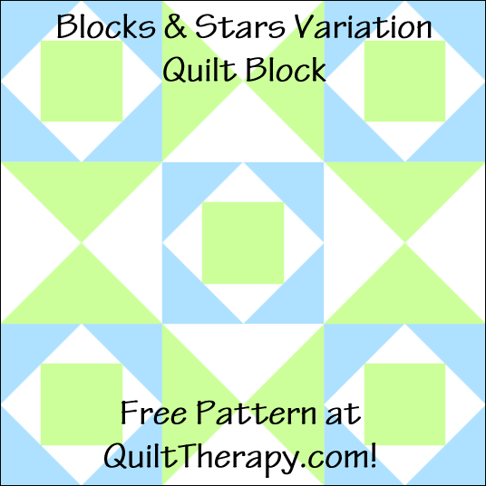 "Blocks & Stars Variation Quilt Block Free Pattern for a 12"" quilt block at QuiltTherapy.com!"