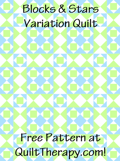 """Blocks & Stars Variation Quilt Free Pattern for a 36"""" x 48"""" quilt at QuiltTherapy.com!"""