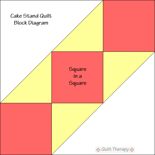 """Cake Stand Block Diagram Free Pattern for 12"""" finished quilt block at QuiltTherapy.com!"""
