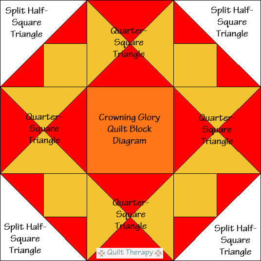 "Crowning Glory Quilt Block Diagram Free Pattern for 12"" finished quilt block at QuiltTherapy.com!"