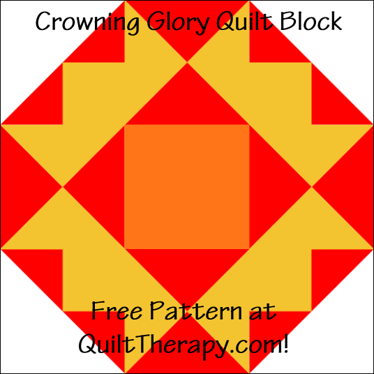 """Crowning Glory Quilt Block Free Pattern for a 12"""" quilt block at QuiltTherapy.com!"""