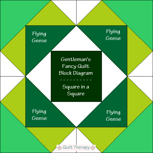 "Gentleman's Fancy Block Diagram Free Pattern for 12"" finished quilt block at QuiltTherapy.com!"