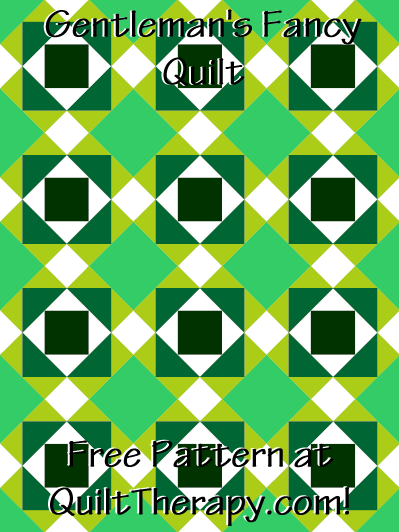 "Gentleman's Fancy Quilt Free Pattern for a 36"" x 48"" quilt at QuiltTherapy.com!"