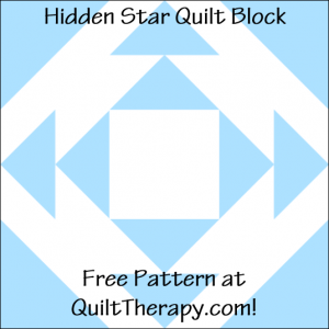 """Hidden Star Quilt Block Free Pattern for a 12"""" quilt block at QuiltTherapy.com!"""