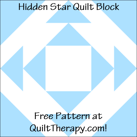 "Hidden Star Quilt Block Free Pattern for a 12"" quilt block at QuiltTherapy.com!"