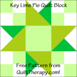 "Key Lime Pie Quilt Block Free Pattern for a 12"" quilt block at QuiltTherapy.com!"