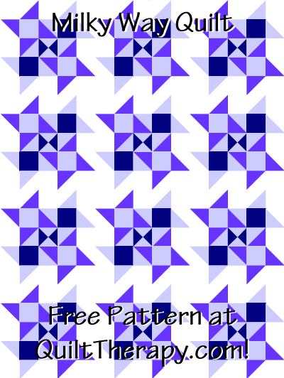"""Milky Way Quilt Free Pattern for a 36"""" x 48"""" quilt at QuiltTherapy.com!"""