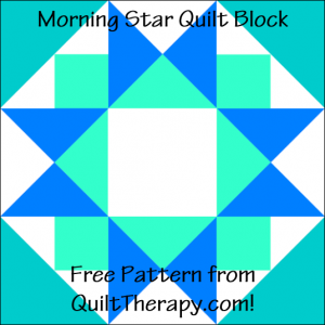 """Morning Star Quilt Block Free Pattern for a 12"""" quilt block at QuiltTherapy.com!"""
