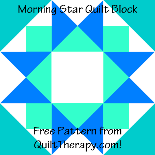 "Morning Star Quilt Block Free Pattern for a 12"" quilt block at QuiltTherapy.com!"