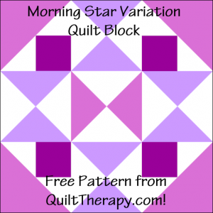 """Morning Star Variation Quilt Block Free Pattern for a 12"""" quilt block at QuiltTherapy.com!"""