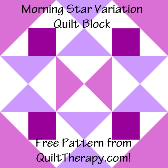 "Morning Star Variation Quilt Block Free Pattern for a 12"" quilt block at QuiltTherapy.com!"