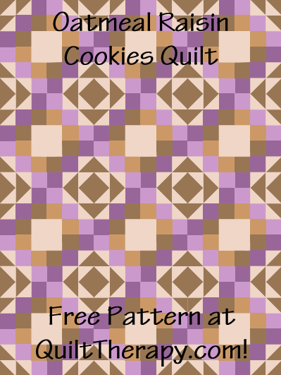 "Oatmeal Raisin Cookies Quilt Free Pattern for a 36"" x 48"" quilt at QuiltTherapy.com!"