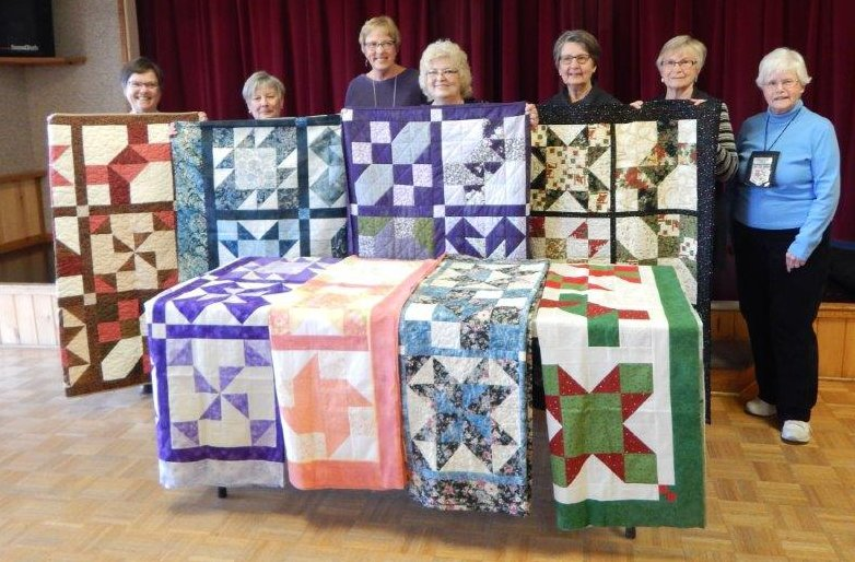 """Quilts by """"The Good Time Quilters of Blind Bay,"""" Sorrento, British Columbia, Canada. Made my originally designed for BOMquilts.com 2006 Block of the Month quilt called """"""""Cinnamon-teen Chocolate Figs & Roses."""""""