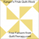 """Ranger's Pride Quilt Block Free Pattern for a 12"""" quilt block at QuiltTherapy.com!"""