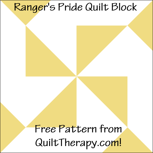 "Ranger's Pride Quilt Block Free Pattern for a 12"" quilt block at QuiltTherapy.com!"