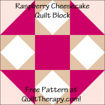 "Raspberry Cheesecake Quilt Block Free Pattern for a 12"" quilt block at QuiltTherapy.com!"