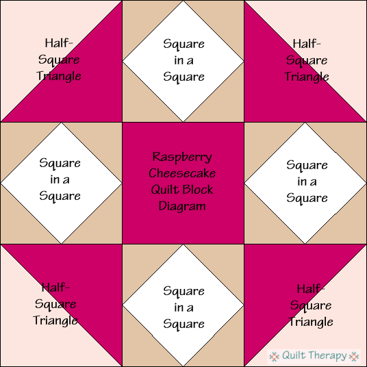 "Raspberry Cheesecake Block Diagram Free Pattern for 12"" finished quilt block at QuiltTherapy.com!"