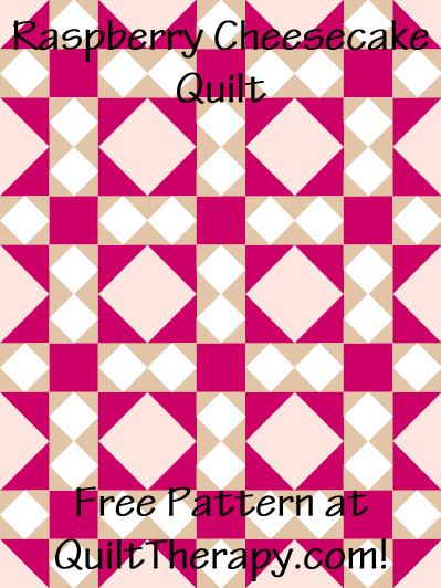 "Raspberry Cheesecake Quilt Free Pattern for a 36"" x 48"" quilt at QuiltTherapy.com!"