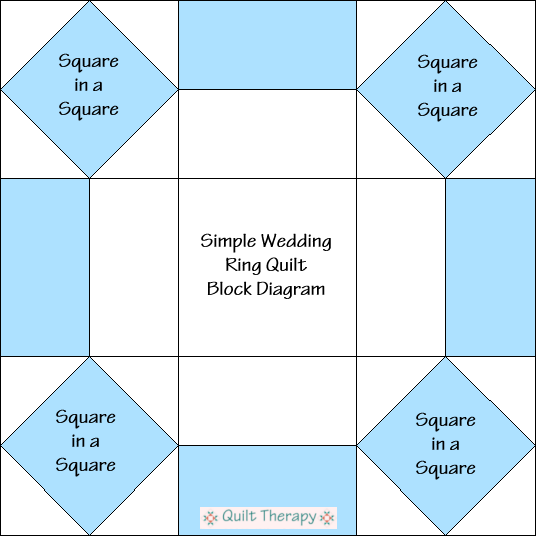 """Simple Wedding Ring Block Diagram Free Pattern for 12"""" finished quilt block at QuiltTherapy.com!"""