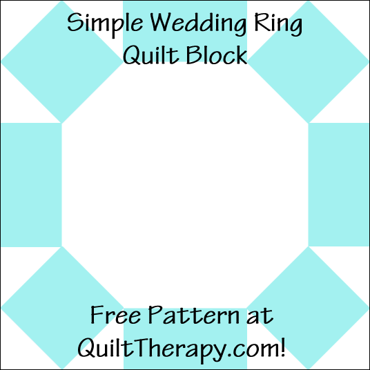 """Simple Wedding Ring Quilt Block Free Pattern for a 12"""" quilt block at QuiltTherapy.com!"""