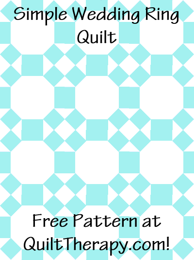 """Simple Wedding Ring Quilt Free Pattern for a 36"""" x 48"""" quilt at QuiltTherapy.com!"""