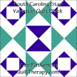 """South Carolina Star Variation Quilt Block Free Pattern for a 12"""" quilt block at QuiltTherapy.com!"""