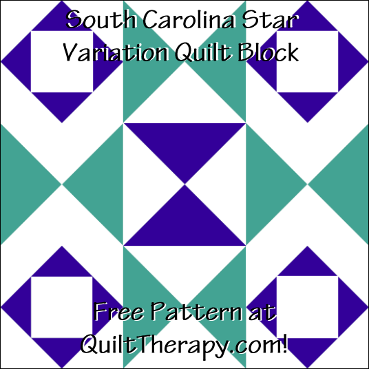 "South Carolina Star Variation Quilt Block Free Pattern for a 12"" quilt block at QuiltTherapy.com!"