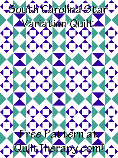"South Carolina Star Variation Quilt Free Pattern for a 36"" x 48"" quilt at QuiltTherapy.com!"