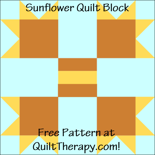 "Sunflower Quilt Block Free Pattern for a 12"" quilt block at QuiltTherapy.com!"