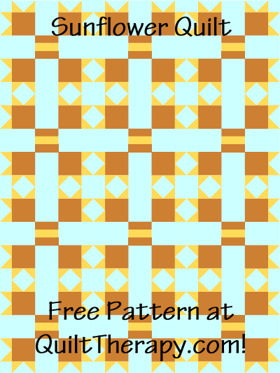 """Sunflower Quilt Free Pattern for a 36"""" x 48"""" quilt at QuiltTherapy.com!"""