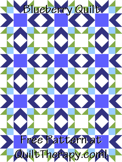 "Blueberry Quilt Free Pattern for a 36"" x 48"" quilt at QuiltTherapy.com!"