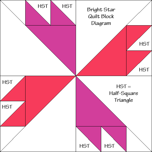 """Bright Star Quilt Block Diagram Free Pattern for 12"""" finished quilt block at QuiltTherapy.com!"""