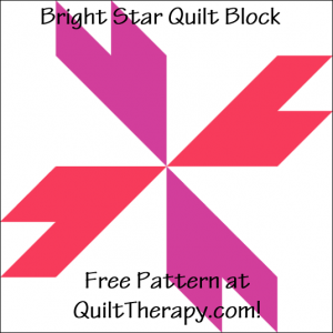 """Bright Star Quilt Block Free Pattern for a 12"""" quilt block at QuiltTherapy.com!"""